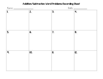 Addition and Subtraction One-Step Word Problem Task Cards (QR Codes)