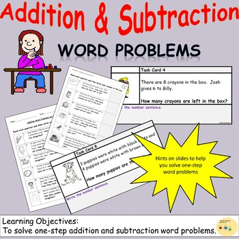 Addition and Subtraction One-Step Word Problems, Worksheets and Task Cards