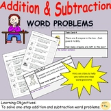 Addition and Subtraction One-Step Word Problems Worksheets and Task Cards