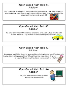 Addition and Subtraction Open-Ended Math Tasks