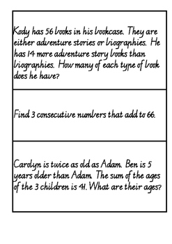 Addition and Subtraction Open Ended Worded Problems