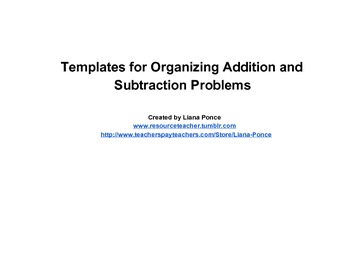 Addition and Subtraction Organizers