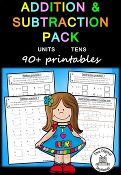 Addition and Subtraction Pack Whole Numbers (Units and Tens) 80+ worksheets