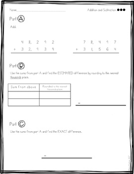 Addition and Subtraction: Part A,B & C Practice