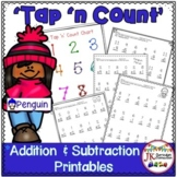 "Addition and Subtraction Penguin Worksheets with ""Tap 'n Count"" points"