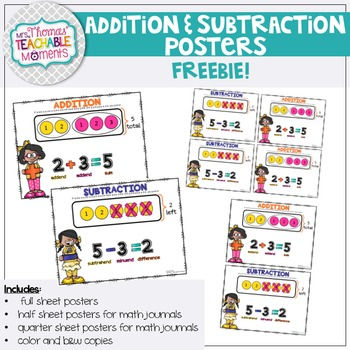 Addition and Subtraction Posters/Anchor Charts FREE!