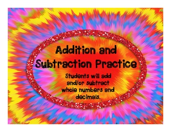 Addition and Subtraction Practice Activity