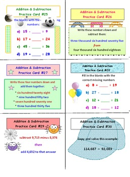 Addition and Subtraction Whole Numbers Practice Cards
