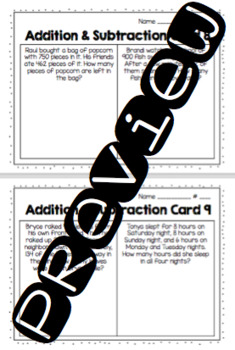Addition and Subtraction Practice Cards
