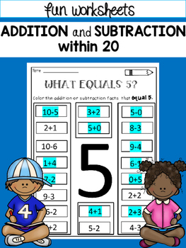 addition and subtraction within 20 worksheets by dana 39 s wonderland. Black Bedroom Furniture Sets. Home Design Ideas