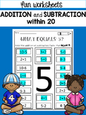 Addition and Subtraction to 20 Worksheets: Highlight It!