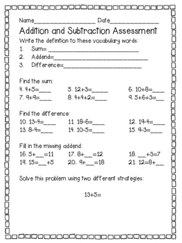 Common Core Aligned Addition and Subtraction Practice and Games