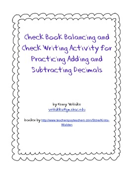 checkbook balancing and check writing practice activity by kerry vellake