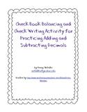 Checkbook Balancing and Check Writing Practice Activity