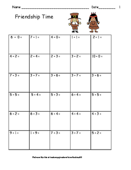 Thanksgiving Addition and Subtraction Practice:  Facts to 10: 12  pgs.