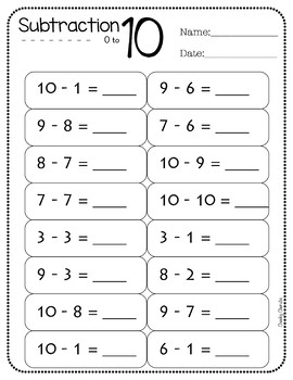 Addition and Subtraction - Practice Sheets