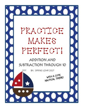 Addition and Subtraction Practice Through 10 -  Nautical Theme - 15 Practices