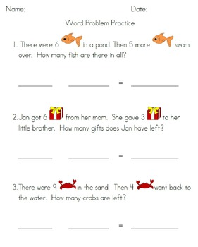 Addition and Subtraction Practice with Numbers 1 Through 9