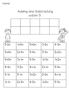 Addition and Subtraction Practice within 5 and 10