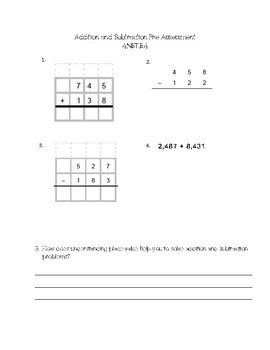 Addition and Subtraction Pre-Assessment