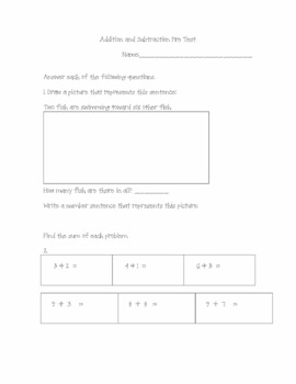 Addition and Subtraction PreTest Aligned to Common Core