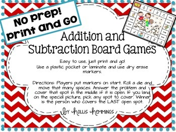 Addition and Subtraction Print and Go Freebie Games