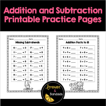 Addition and Subtraction Printable Practice Pages