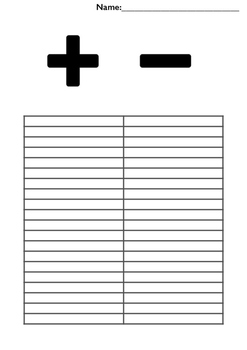 Addition and Subtraction Printable Sheet