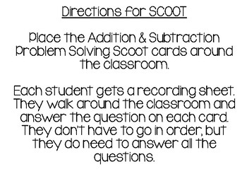Addition and Subtraction Problem Solving Scoot