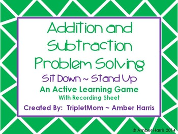 Addition and Subtraction Problem Solving Sit Down Stand Up Active Learning Game