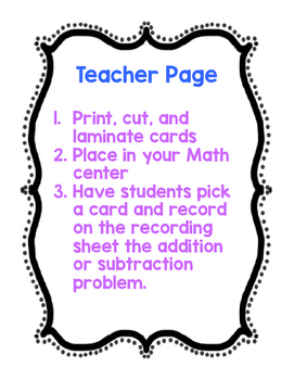 Addition and Subtraction Problems Center