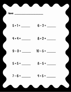 Addition and Subtraction Problems (within 10) - Aligned with CCSS