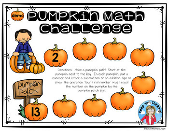 Addition and Subtraction Pumpkin Path Math Challenge FREE!