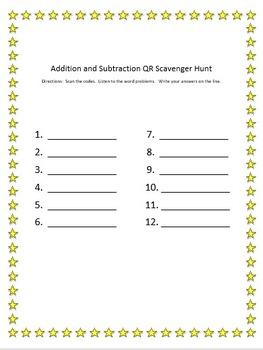 Addition and Subtraction QR Code Scavenger Hunt