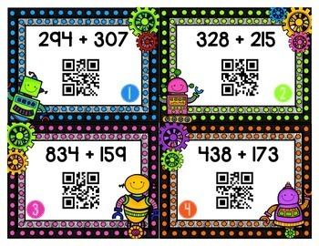 Addition and Subtraction QR Code Self-Checking Task Cards {Common Core-Aligned}