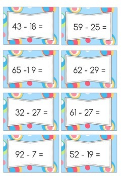 Addition and Subtraction Question Cards