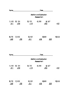 Addition and Subtraction QuickAssessment