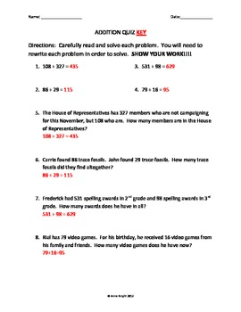 Addition and Subtraction Quiz 1