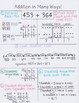 3rd & 4th Grade Addition and Subtraction Reference Sheets