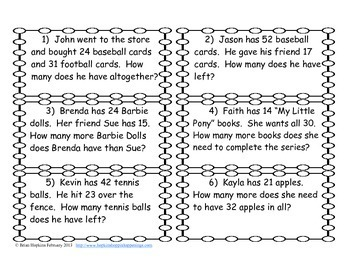 Addition and Subtraction Regrouping Word Problem Task Cards (2.OA.1)