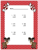 Addition and Subtraction Regrouping with Word Problems ~ Christmas Light Moose