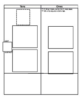 Addition and Subtraction Regrouping work mat