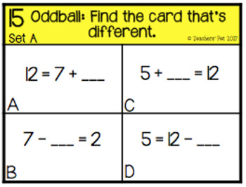 Addition and Subtraction Related Facts Oddball Cards