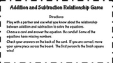 Addition and Subtraction Relationship Board Game