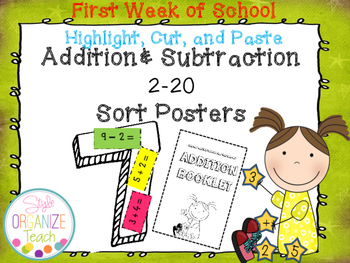 Addition and Subtraction Review Sort: Highlight, Cut, and Paste