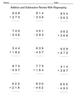 Addition and Subtraction Review With Regrouping Worksheets by ...