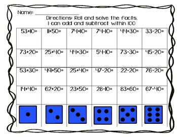 Addition and Subtraction Roll and Solve