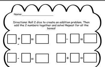 Addition and Subtraction Rolling-Dice Activity