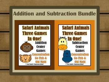 Addition and Subtraction Math Center Jungle Themed Games Bundle