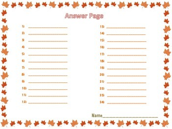 Addition and Subtraction Scavenger Hunt: Fall Edition